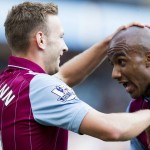 AVFCOfficial: #AVFC 2-0 #HCAFC - MATCH PIC: England newboy Fabian Delph delighted for @AndiWeimann. #AVFCLIVE http://t.co/QHhS1YktWQ